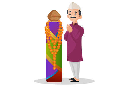 Vector graphic illustration. Marathi man is doing worship Gudi Padwa. Individually on a white background.