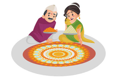 Vector graphic illustration. Indian Marathi couple is decorating the floor with flowers. Individually on a white background.