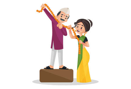 Vector graphic illustration. Indian Marathi couple is holding flowers garland in hands. Individually on a white background.