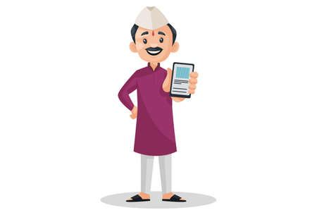 Vector graphic illustration. Indian Marathi man is holding mobile phone in hand. Individually on a white background.