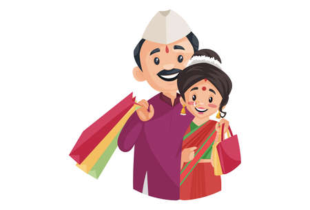 Vector graphic illustration. Indian Marathi couple is holding shopping bags in hands. Individually on a white background.