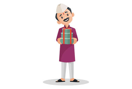 Vector graphic illustration. Indian Marathi man is holding gifts in hands. Individually on a white background.
