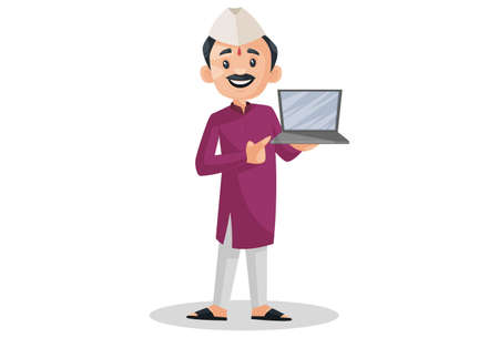 Vector graphic illustration. Indian Marathi man is holding a laptop in hand. Individually on a white background.