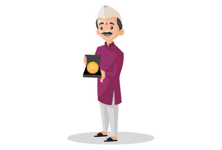 Vector graphic illustration. Indian Marathi man is holding a gold coin of Lord Ganesh in hand. Individually on a white background. Illustration