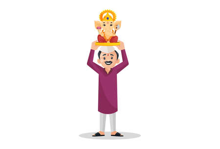 Vector graphic illustration. Marathi man is holding Lord Ganesh on his head. Individually on white background.