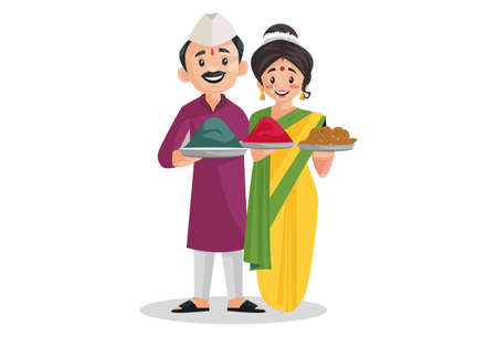 Vector graphic illustration. Indian Marathi couple is holding sweets and color plate in her hands. Individually on a white background.