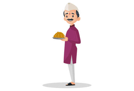Vector graphic illustration. Indian Marathi man is holding sweets plate in his hands. Individually on a white background.