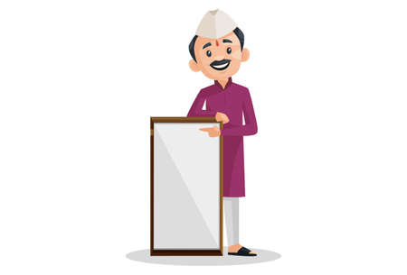 Vector graphic illustration. Marathi man is showing an empty board. Individually on white background.