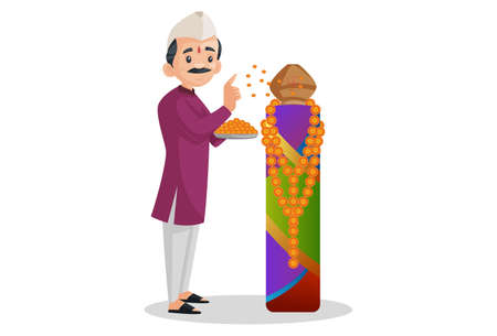 Vector graphic illustration. Indian Marathi man is holding flower plate in hand and worship. Individually on a white background. Illustration