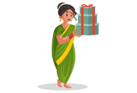 Vector graphic illustration. Indian Marathi woman is holding gifts in hands. Individually on a white background. Illustration