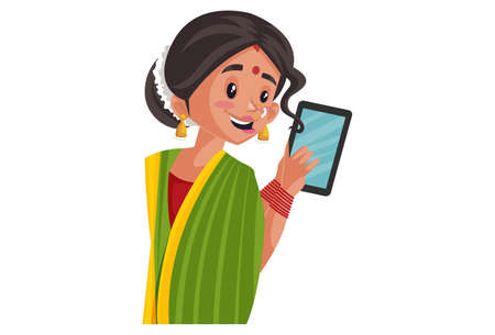 Vector graphic illustration. Indian Marathi woman is holding mobile phone in hand. Individually on a white background.