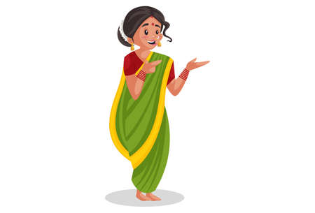 Vector graphic illustration. Indian Marathi woman is with hands expression. Individually on a white background.