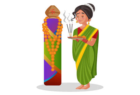 Vector graphic illustration. Marathi woman is holding a worship plate in hands. Individually on a white background. Illustration