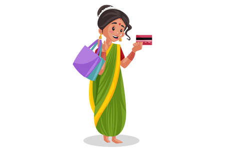 Vector graphic illustration. Indian Marathi woman is holding atm card and shopping bags in hand. Individually on a white background. Illustration