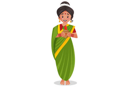 Vector graphic illustration. Indian Marathi woman is holding worship vase in hands. Individually on a white background.