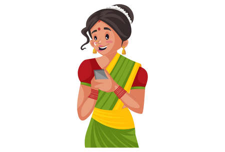 Vector graphic illustration. Marathi woman is holding a mobile phone in hand. Individually on a white background.