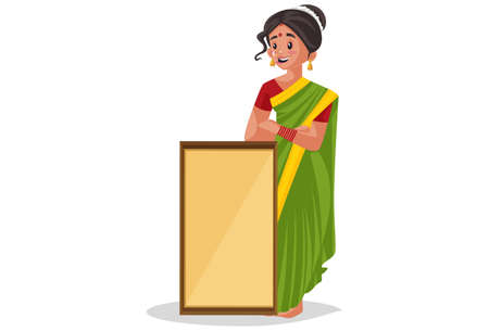 Vector graphic illustration. Indian Marathi woman is holding an empty board in hand. Individually on a white background.