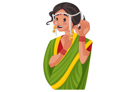 Vector graphic illustration. Marathi woman is wearing traditional jewellery. Individually on a white background. Illustration