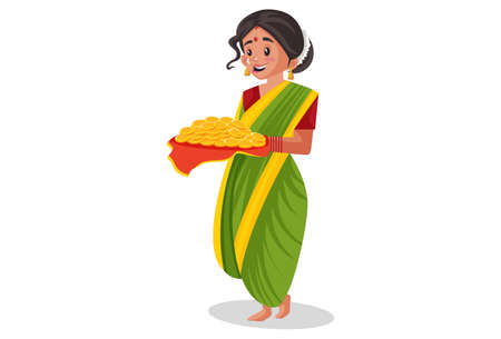 Vector graphic illustration. Indian Marathi woman is holding a gold coins plate in hands. Individually on a white background. Illustration