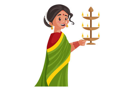 Vector graphic illustration. Indian Marathi woman is holding a brass aarti lamp in her hands. Individually on a white background.