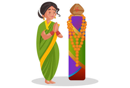 Vector graphic illustration. Indian Marathi woman is doing worship. Individually on a white background. Illustration