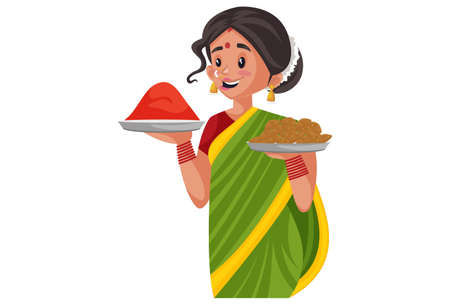 Vector graphic illustration. Indian Marathi woman is holding sweets and color plate in her hands. Individually on a white background. Illustration