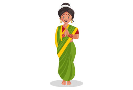 Vector graphic illustration. Indian Marathi woman is with greet. Individually on a white background.