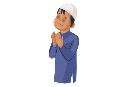 Vector graphic illustration. Indian Muslim man is standing and praying to God. Individually on white background. Illustration