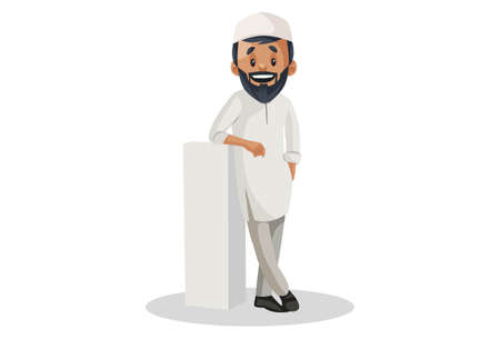 Vector graphic illustration. Indian Muslim man is standing with a pillar. Individually on white background.