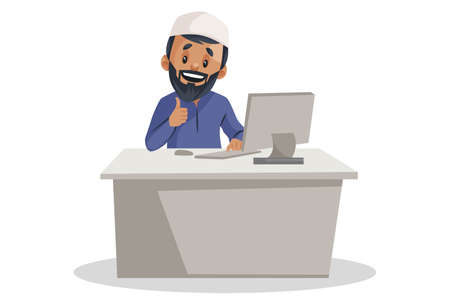 Vector graphic illustration. Indian Muslim man is working on the computer. Individually on white background.