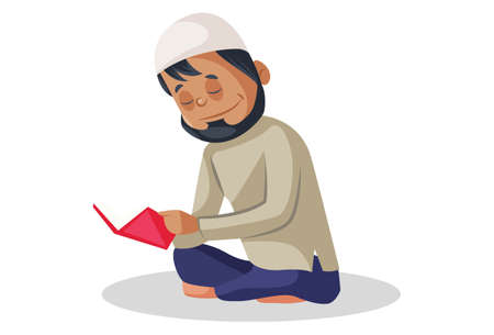 Vector graphic illustration. Indian Muslim man is reading the book. Individually on white background. Illustration