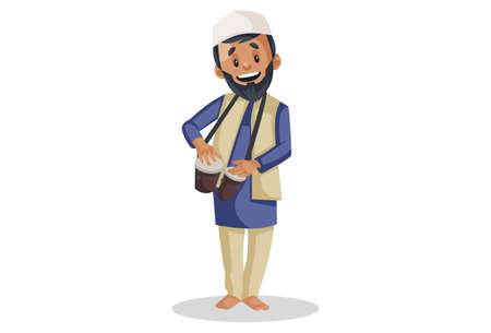 Vector graphic illustration. Indian Muslim man is playing bongo drums. Individually on white background.