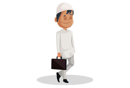 Vector graphic illustration. Indian Muslim man is holding a briefcase in hand. Individually on white background.