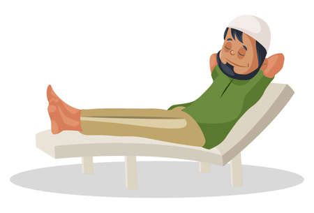 Vector graphic illustration. Indian Muslim man is sitting on the pool chair and relaxing. Individually on white background.