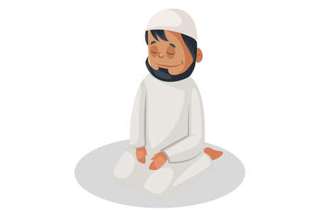 Vector graphic illustration. Indian Muslim man is sitting on the floor and praying. Individually on white background.