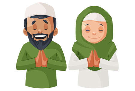 Vector graphic illustration. Indian Muslim couple is praying to God. Individually on white background.