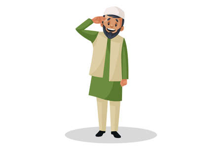 Vector graphic illustration. Indian Muslim man is giving a salute. Individually on white background. Illustration