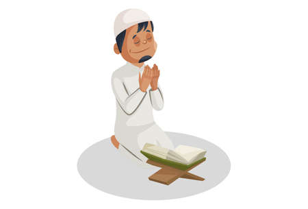 Vector graphic illustration. Indian Muslim man is reading the Quran and praying to god. Individually on white background. Illustration