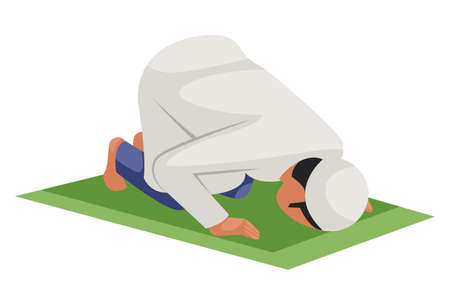Vector graphic illustration. Indian Muslim man is praying to God. Individually on white background. Illustration