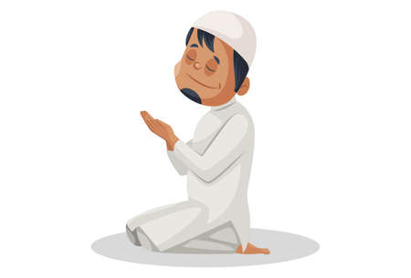 Vector graphic illustration. Indian Muslim man is sitting and praying to God. Individually on white background.