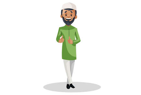 Vector graphic illustration. Indian Muslim man is showing thumbs-up with both hands. Individually on a white background.