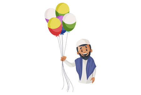 Vector graphic illustration. Indian Muslim man is holding balloons in hand. Individually on a white background. Illustration