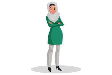 Vector graphic illustration. Muslim woman is standing. Individually on white background. Illustration