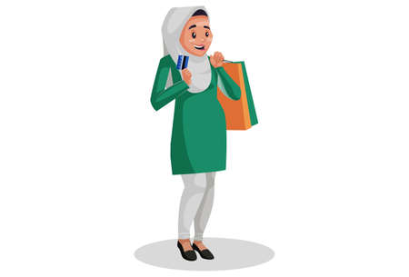 Vector graphic illustration. Muslim woman is holding shopping bags and ATM card in hands. Individually on white background.