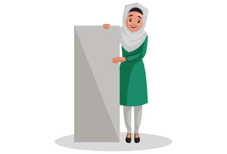 Vector graphic illustration. Muslim woman is holding an empty board in her hands. Individually on white background.