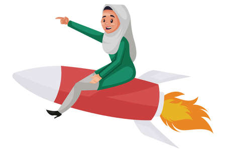 Vector graphic illustration. Muslim woman is sitting on a rocket. Individually on white background.