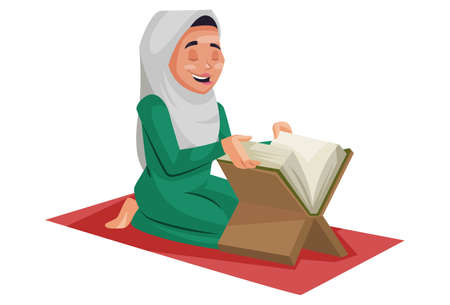 Vector graphic illustration. Muslim woman is reading the Quran. Individually on white background.