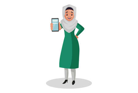 Vector graphic illustration. Muslim woman is showing a mobile phone. Individually on white background. Illustration