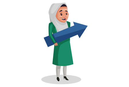 Vector graphic illustration. Muslim woman is holding an arrow in her hands. Individually on white background.