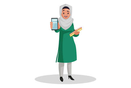 Vector graphic illustration. Muslim woman is holding books in hand and showing the mobile phone. Individually on white background.